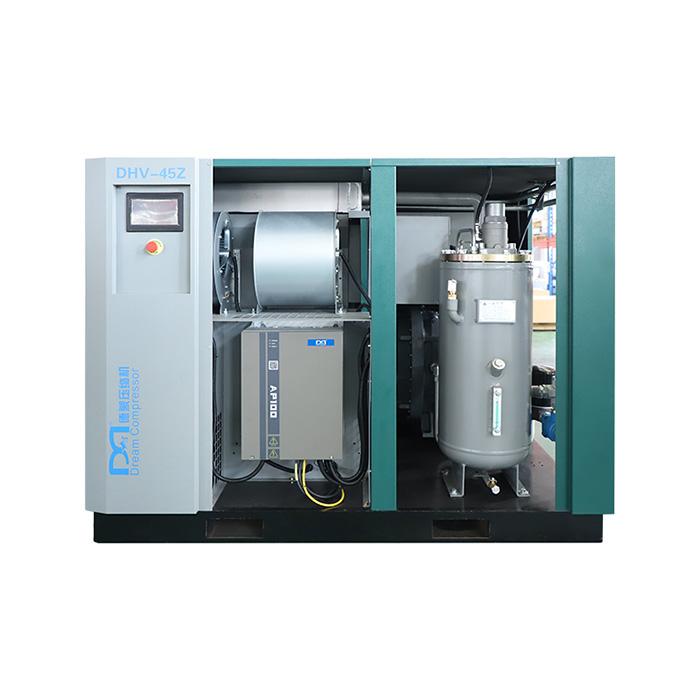 Compresor de aire de tornillo de velocidad variable magnético permanente de dos etapas