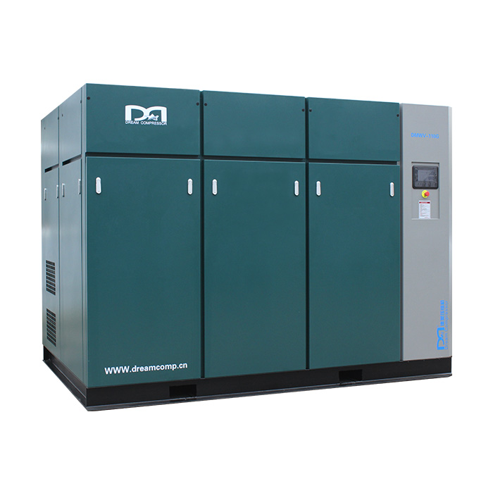 Compresor de aire de tornillo de velocidad variable magnético permanente sin aceite seco