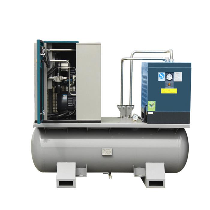 Compresor de aire de tornillo integrado con tanque y secador de aire