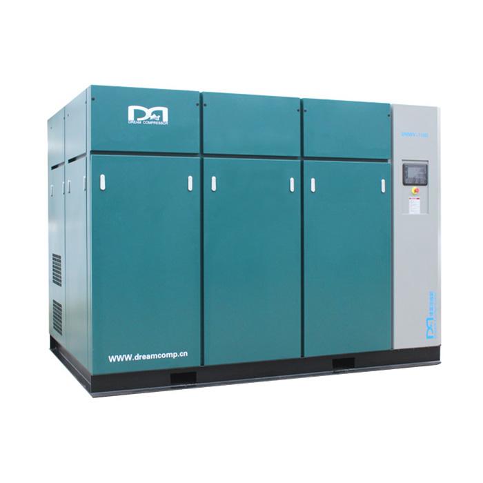 Compresor de aire de tornillo de velocidad fija sin aceite seco