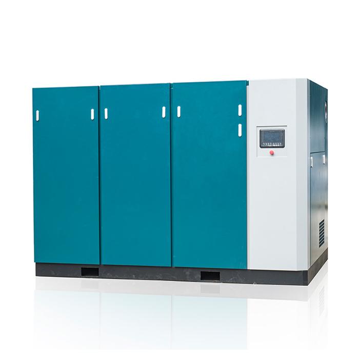 Compresor de aire de tornillo de velocidad variable magnético permanente de baja presión de dos etapas (PM VSD)
